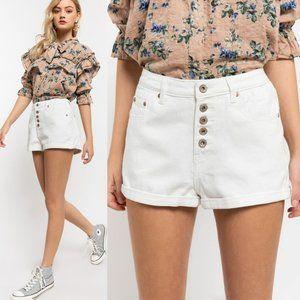NEW White High Rise Button Fly Cuff Denim Shorts